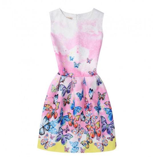 Vestido de verano con estampado floral de mariposas, sin mangas, para niñas VES00002B