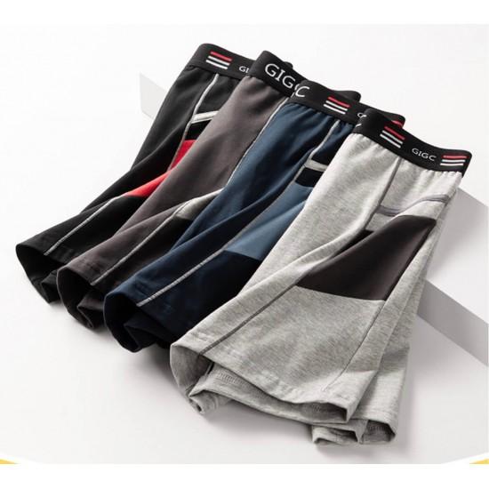 Calzoncillos GIGC tipo bóxer para hombre, de algodón, pierna larga, gris claro BOX00011C