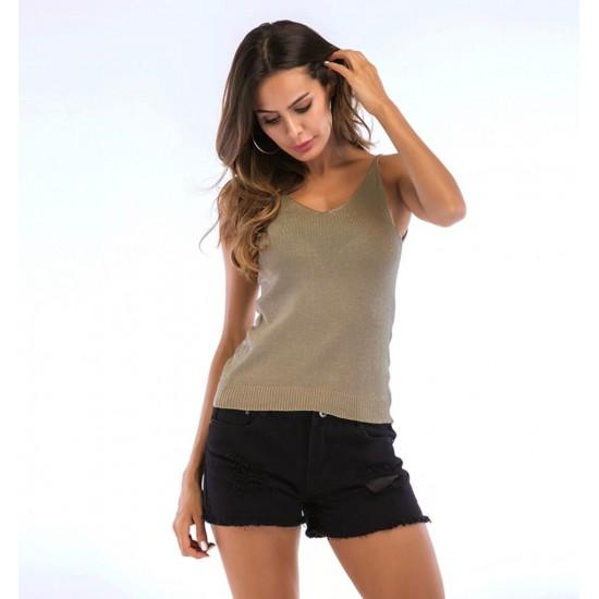 Camiseta sin mangas para mujer con cuello en V CAM00013B