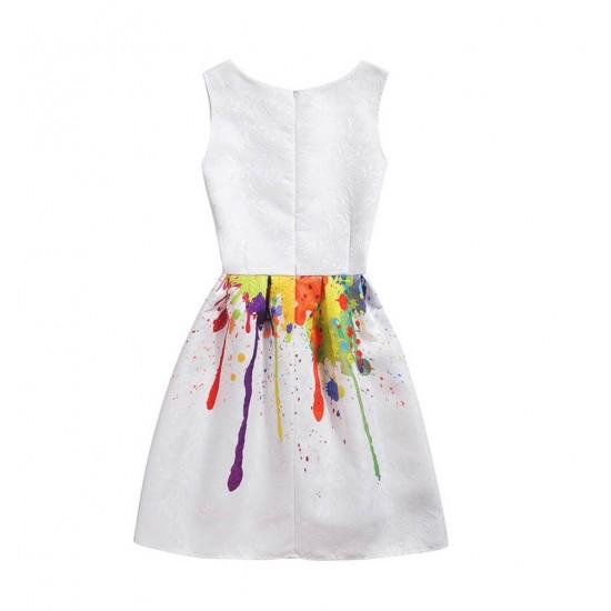 Vestido de verano con estampado floral, sin mangas, para niñas VES00003