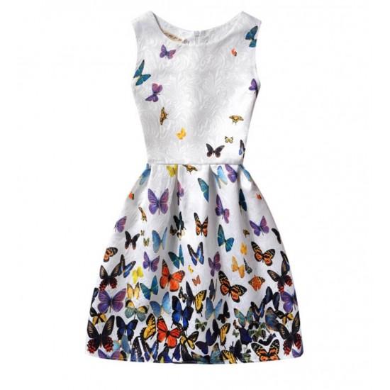 Vestido de verano con estampado floral de mariposas, sin mangas, para niñas VES00006A