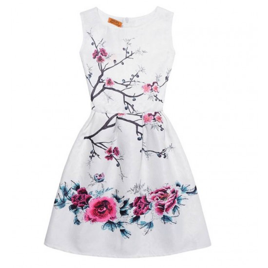 Vestido de verano con estampado floral, sin mangas, para niñas VES00004A