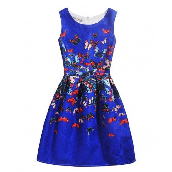 Vestido de verano con estampado floral de mariposas, sin mangas, para niñas VES00006B