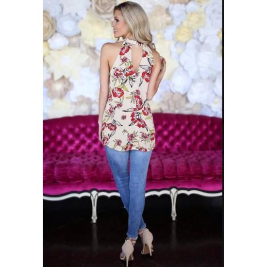 Camisa sin mangas de verano con estampado floral para mujer CAM00007A