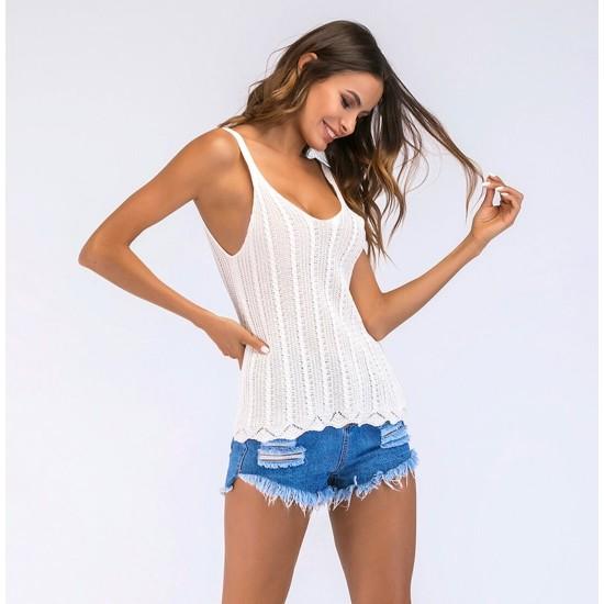 Camiseta de verano blanca sin mangas con cuello V CAM00012A