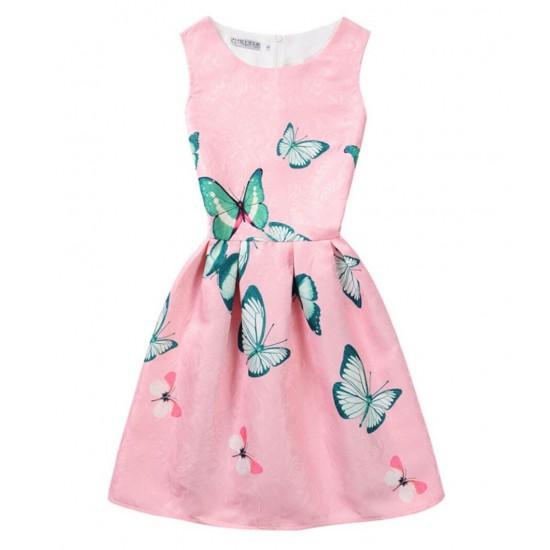 Vestido de verano con estampado floral de mariposas, sin mangas, para niñas VES00004B