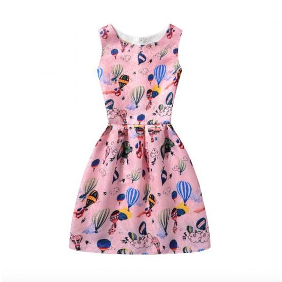 Vestido de verano con estampado floral de mariposas, sin mangas, para niñas VES00006C
