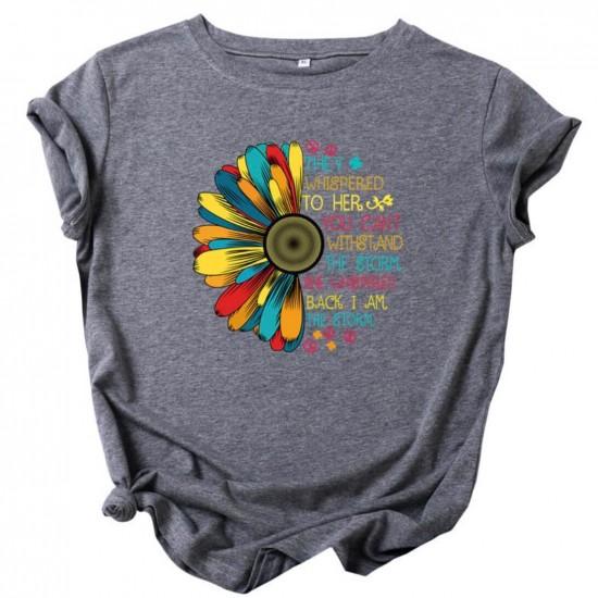 Camiseta para mujer divertida con diseño de flor CAM00017A