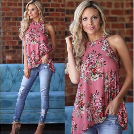 Camisa sin mangas de verano con estampado floral para mujer CAM00007B