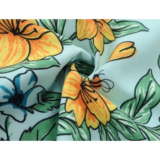 Vestido de fiesta con estampado floral sin mangas, estilo princesa, vestido de fiesta casual con cinturón VES00005A