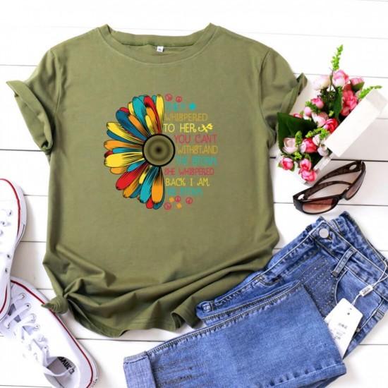 Camiseta para mujer divertida con diseño de flor CAM00017B