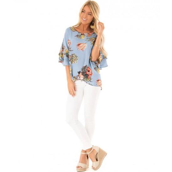 Blusa de cuello redondo para mujer, estilo casual CAM00003A