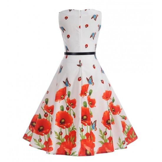 Vestido de fiesta con estampado floral sin mangas, estilo princesa, vestido de fiesta casual con cinturón VES00005B