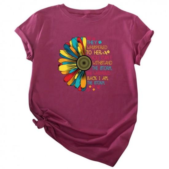 Camiseta para mujer divertida con diseño de flor CAM00017C