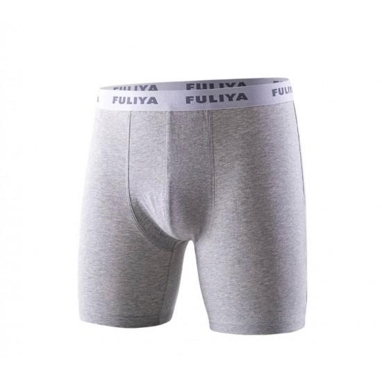Boxer pierna larga de 100% algodón para hombre, gris claro BOX00010E