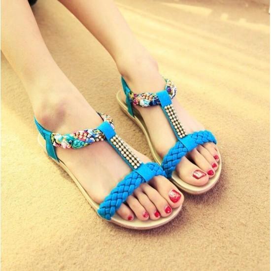 Sandalias para mujer, suela plana, cuero sintetico ZAP00036C