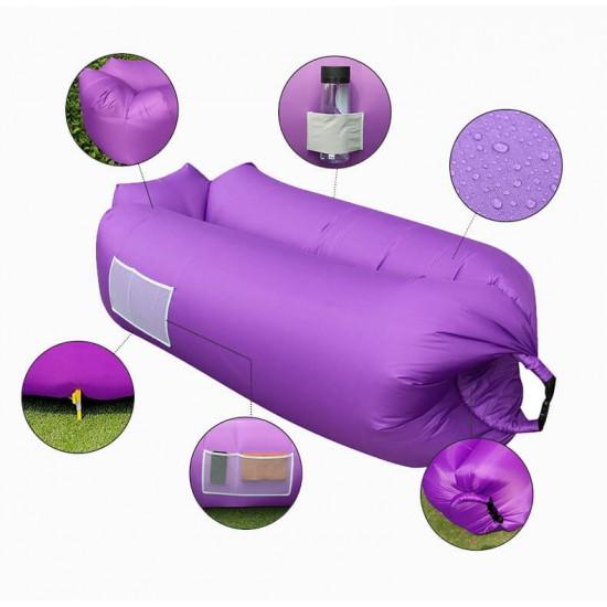 Tumbona inflable, LAMZAC, fácil de instalar, impermeable, tumbona portátil, sillon inflable al aire libre, sofá para camping, senderismo, natación, piscina, playa, jardín, viajes. LAM00001
