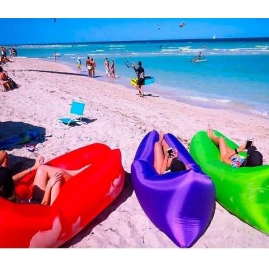 Tumbona inflable, LAMZAC, fácil de instalar, impermeable, tumbona portátil, sillon inflable al aire libre, sofá para camping, senderismo, natación, piscina, playa, jardín, viajes. LAM00002