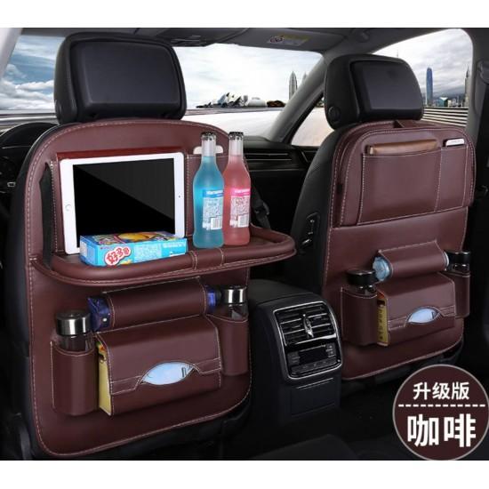 Organizador de asiento trasero de coche de nailon impermeable con bandeja de mesa plegable AUT00002
